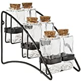 Couronne Company M222-6177 Double Metal Spice Rack with Rectangle Bottles, 7'', Clear, 1 Piece