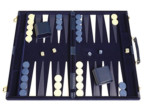 Deluxe Backgammon Set - Board Game (Blue - 18