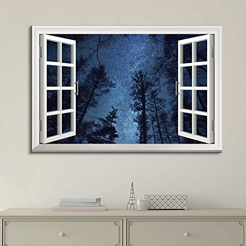 White Window Looking Out Into the Bright Blue Starry Sky