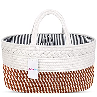 ColorBaby Baby Diaper Caddy Organizer 100% Cotton Canvas Stylish Rope Nursery Storage Bin Portable Tote Bag & Car Organizer with Removable Inserts - Top Baby Shower Basket