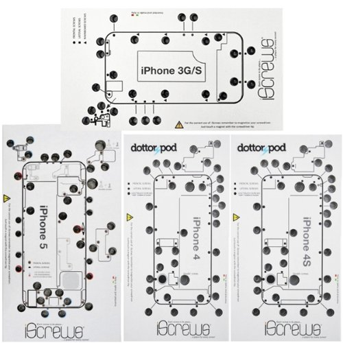 BisLinks Professional 4 X Pack for iScrews Trays for iPhone 3G 4 4S & 5 Repair Tray Mat