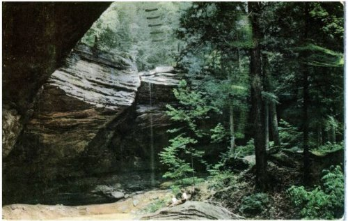 Photo Reprint Ash Cave, Hocking Hills State Park - 1950's Postcard