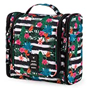 BOOEEN Hanging Travel Toiletry Bag for Women and Girls, Portable Waterproof Cosmetic Travel Bag, 17 Compartments Non…