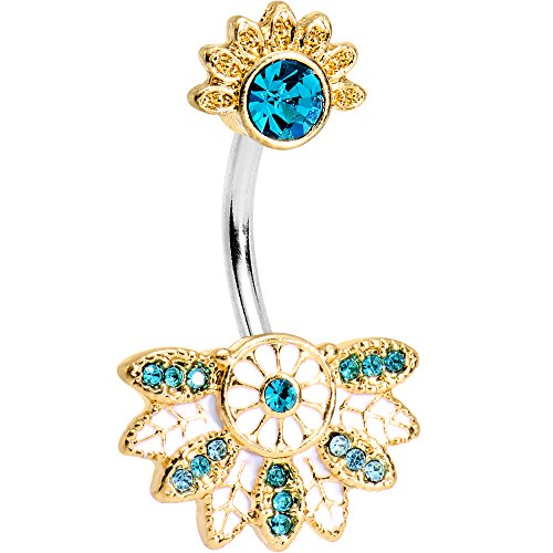 tropical flower belly ring - 8