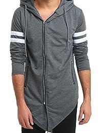 """<span class=""""a-offscreen"""">[Sponsored]</span>xiaokong Men's Two Stripe Zipper Solid Casual Tunic Hoodie Sweatshirts"""