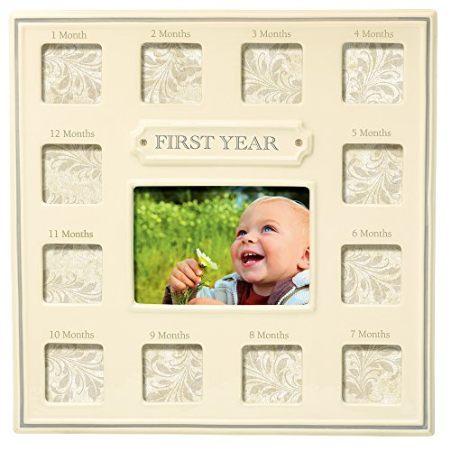 """Grasslands Road """"First Year"""" Multi Opening Ceramic Frame, Antique White, 3 by 5-Inch"""