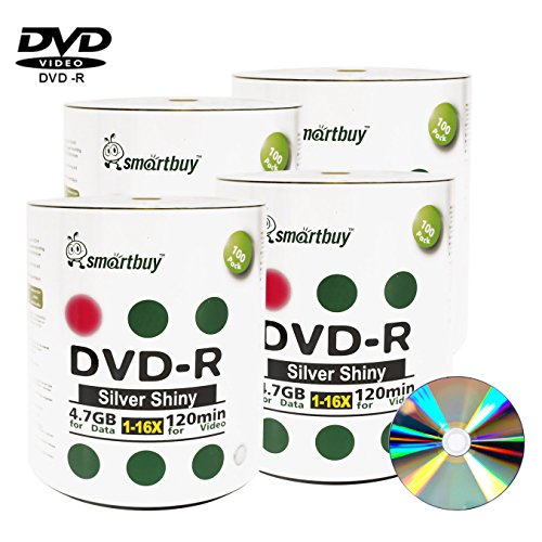 Smart Buy 400 Pack Dvd-r 4.7gb 16x Shiny Silver Blank Data Video Movie Recordable Media Disc, 400 Disc 400pk by Smart Buy