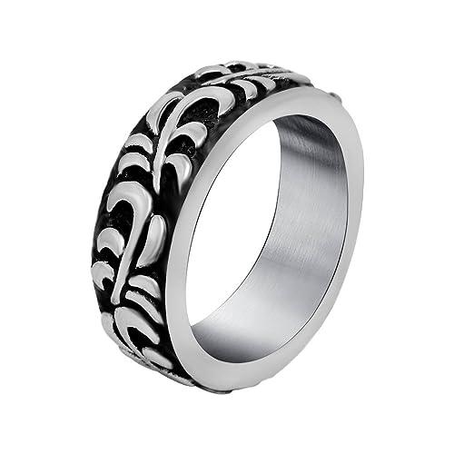 8 mm Hombres de las mujeres del acero inoxidable flores anillos de boda banda plata negro