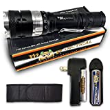 Cheap MF Tactical Pro Tango U2 Rechargeable Tactical LED Flashlight Kit – 1100 Lumen Pro Grade Waterproof 5 Modes: High, Med, Low, Strobe & SOS. Includes Li-ion Rechargeable Battery, Charger, Holster & Clip