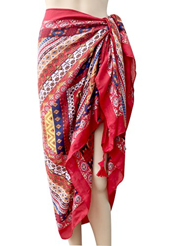 Oryer Womens Sarong Wrap Beach Pareo Swimwear Sarongs Cover up Swimsuit Wrap