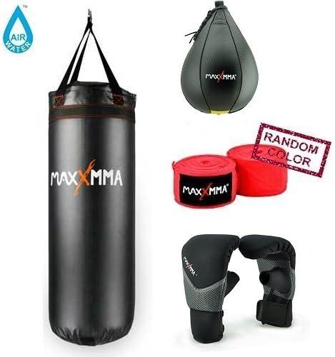 MaxxMMA 3 ft。水/ Air重いバッグ70120ポンド。+速度バッグ大+ネオプレン手袋+竹Hand Wraps (ランダムカラー)