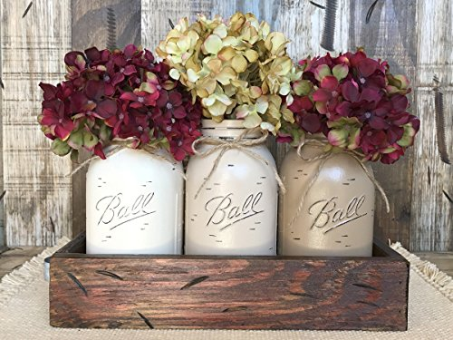 Mason Canning Jar Table Centerpiece with 3 Hand Painted Ball QUART Jars in Distressed Wood Tray rusty handles - CREAM, SAND, COFFEE (pictured) -Hydrangea Flowers are optional *STUNNINGLY BEAUTIFUL* ()