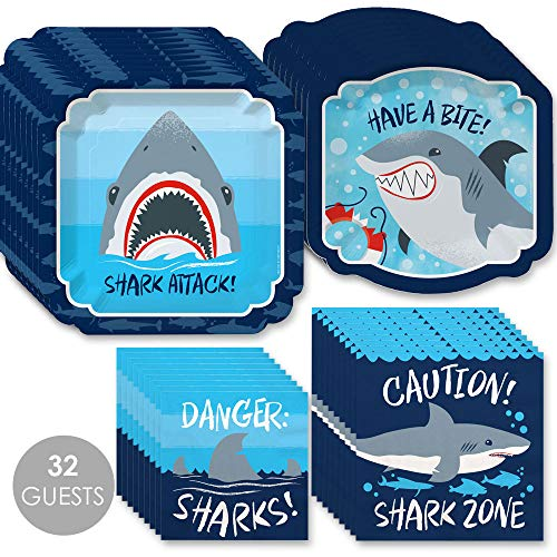 Shark Plates And Napkins (Big Dot of Happiness Shark Zone - Jawsome Shark Viewing Week Party or Birthday Party Tableware Plates and Napkins - Bundle for)