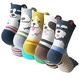 Pack of 5 Sweet Animal Design Women's Casual Comfortable Cotton Crew Socks,...