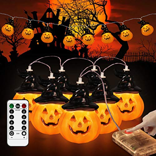 Halloween-Pumpkin-Decorations-String-Lights-Remote,Timer & 8 Modes Pumpkin Lantern String Light 14.5ft 20 LED Battery Operated Decorative Lights for Indoor Outdoor Halloween Xmax Party Decor(Remote)