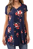 Bzonly Women Summer V Neck Tunic Tops Floral Print Short Sleeve T Shirt Blouses