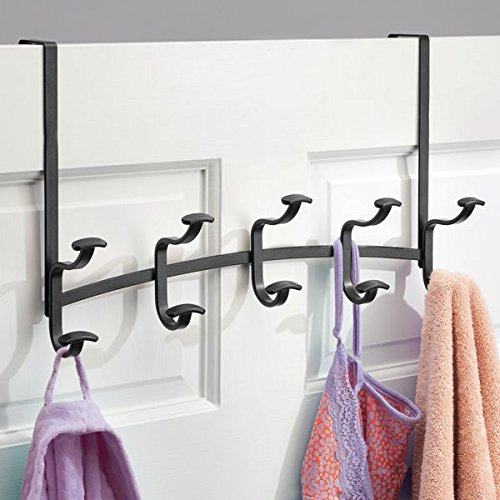 mDesign Over The Door 10-Hook Rack for Closet Storage to Hold Coats, Hats, Robes, Towels - Matte Black