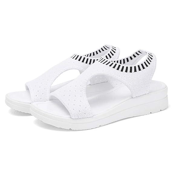 Moserian Damen Damen Schuhe Atmungsaktiv Komfort Aushöhlen Lässige Wedges Tuch Schuhe Sandalen
