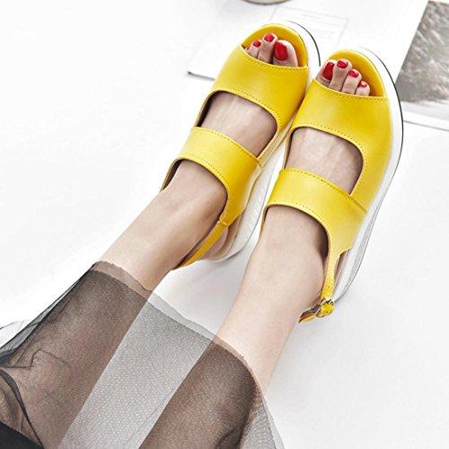 Higt Fond Tongs Talon Chaussures Beautyjourney Bebe Jaune Bouche Montantes Femmes Shake Fille De Poisson Noel Femmes Épaisse Sandales 1761gxP