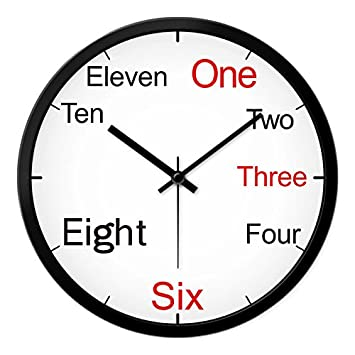 Relojes Reloj de pared reloj moderno creativo de Dibujo gráfico de pared relojes de cuarzo dormitorio ,12 silencio , palabras en inglés en una caja negra: ...