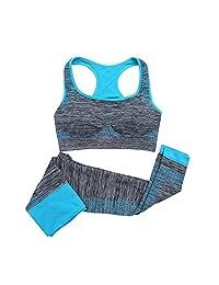 HMILYDYK Women Yoga Seamless Bra Pants Leggings Set 2 Pieces Sportwear Set Gym Workout Sports Activewear