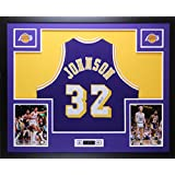 Magic Johnson Autographed Purple Lakers Jersey - Beautifully Matted and Framed - Hand Signed By Magic Johnson and Certified Authentic by JSA COA - Includes Certificate of Authenticity