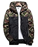 Men's Long Sleeve Camo Hoodie Jacket Outwear Hooded Windbreaker (US-L=Tag XXL(Asian Size), Green)