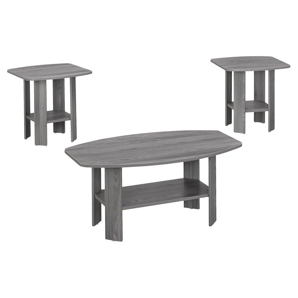 Monarch 3 Piece Table Set, Grey by Monarch Specialties