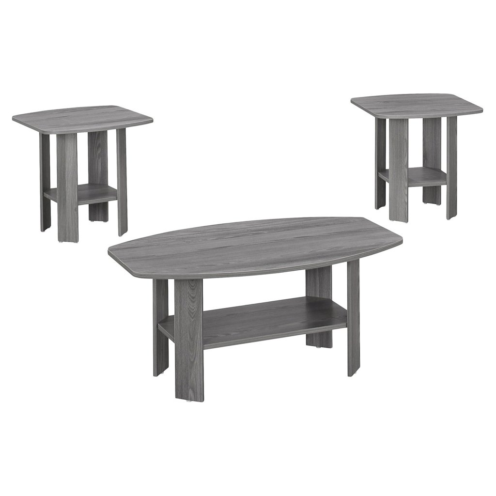 Monarch I 7925P 3 Piece Table Set, Grey by Monarch Specialties (Image #1)