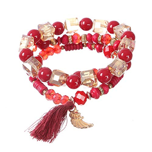 OASIS LAND Fashion Jewelry Bohemian Crystal Rice Beads Beaded Tassels Multiple Combinations Elastic Bracelet Female - Crystal 20 Jubilee Gold