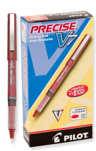 Pilot Precise V7 Stick Rolling Ball Pens, Fine Point, Dozen Box, Red Ink (35352)