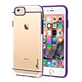 iPhone 6s Case, rooCASE iPhone 6 Case [FUSION Series] Slim Fit Hybrid Clear PC/TPU Trim Case Cover for Apple iPhone 6/6s (2015), Clear/Purple