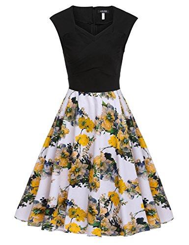 ACEVOG-Womens-1950s-Retro-Floral-Vintage-Cap-Sleeve-Party-Swing-Dress