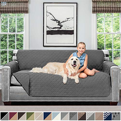 Sofa Shield Original Patent Pending Reversible Large Sofa Protector for Seat Width up to 70 Inch, Furniture Slipcover, 2 Inch Strap, Couch Slip Cover Throw for Pet Dogs, Cats, Sofa, Charcoal