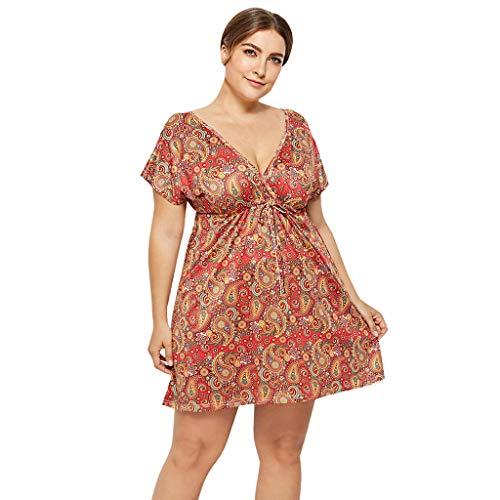 HYIRI Women Summer Casual T Shirt Dresses Beach Cover up Plain Pleated Tank Dress Orange ()