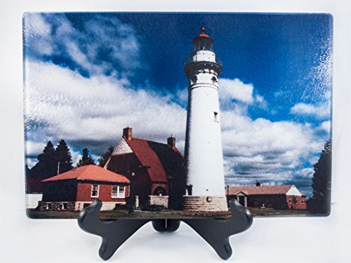 Cutting Board, Glass, Seul Choix Michigan Lighthouse Design, Photograph