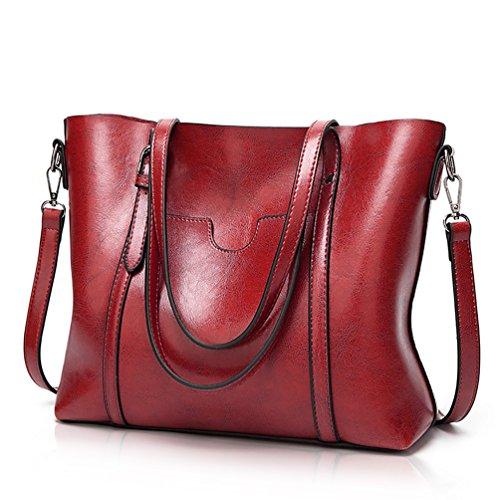 Essfeeni Handbags Shoulder Bag Satchel Handbags Tote Purse for Women Lady Red Wine