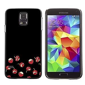 FECELL CITY // Duro Aluminio Pegatina PC Caso decorativo Funda Carcasa de Protección para Samsung Galaxy S5 SM-G900 // Flowers Red Minimalist Dark Art