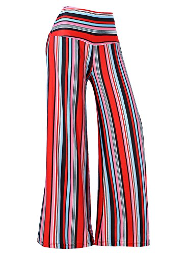 Arrisol Women's Stretchy Wide Leg Palazzo Lounge Pants (XX-Large, Stripe) by Arolina