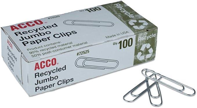 Acco 72525 Clips de papel reciclado, Jumbo, 100/caja, 10 cajas/paquete: Amazon.es: Oficina y papelería