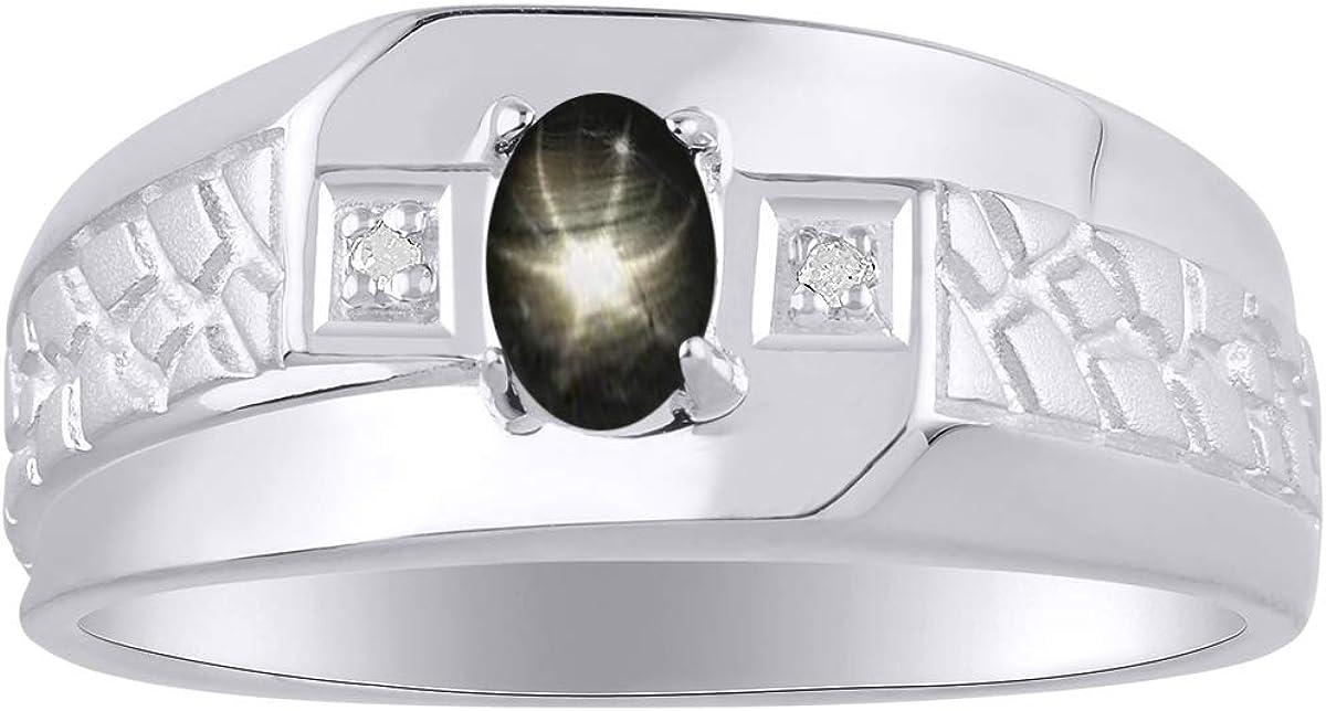 RYLOS - Anillo para hombre con gema en forma ovalada y diamantes brillantes auténticos en oro blanco de 14 K - 6 x 4 mm piedra de color