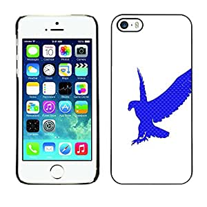 Qstar Arte & diseño plástico duro Fundas Cover Cubre Hard Case Cover para Apple iPhone 5 / iPhone 5S ( Eagle Hawk Logo White Clean Blue)
