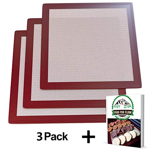 Square Silicone Excalibur Dehydrator Sheets (3-Pack) Healthy, Dehydrated Food, Snacks, Fruit Roll-Ups | Heavy-Duty, Reusable | Heat-Resistant, Non-Stick Surface | Home Kitchen Use | Bonus Recipe Ebook -