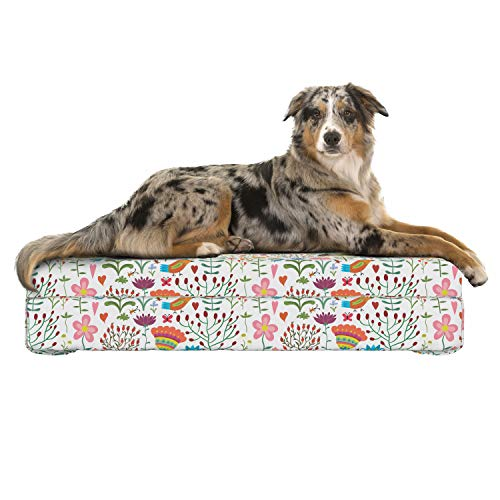 Lunarable Floral Dog Bed, Doodle Art Style Spring Garden Ornament with Flowers Beetle Ladybugs Birds Worms, Dog Pillow with High Resilience Visco Foam for Pets, 32