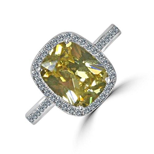 Diamond Veneer - 3 CT. (10x8mm) Emerald Cushion Radiant Center w/Halo Pave Electro-Plate Ring (Canary, 8)
