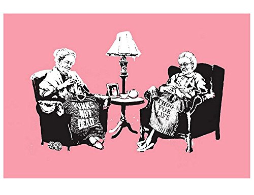 """Alonline Art - Old Women Knitting Banksy POSTER PRINTS ROLLED (Print on Fine Art PHOTO PAPER) 36""""x24"""" - 91x61cm Posters For Bedroom Posters For Home Decor Wall Art Posters Wall Decor"""