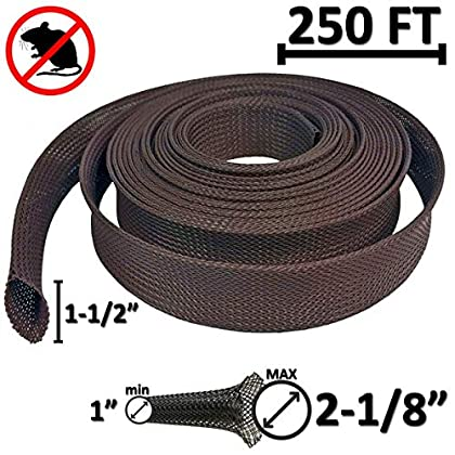Image of Cable Sleeves Electriduct 1.5' Rodent Resistant Braided Sleeving Mouse and Rat Repellent Hose Wire Mesh Cable Protection Flexible Expandable Wrap - 250 Feet
