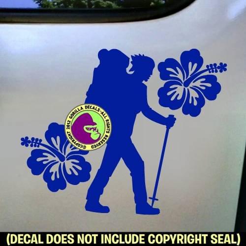 HIBISCUS Female Hiker Vinyl Decal Sticker D