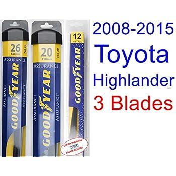 2008-2015 Toyota Highlander Replacement Wiper Blade Set/Kit (Set of 3 Blades