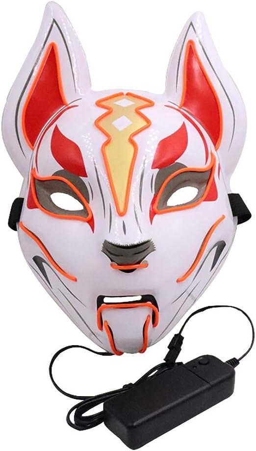 Máscara de neón con luces LED para disfraz de zorro de Halloween H ...